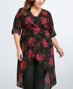Torrid Goergette Surplice High Low Blouse/Tunic